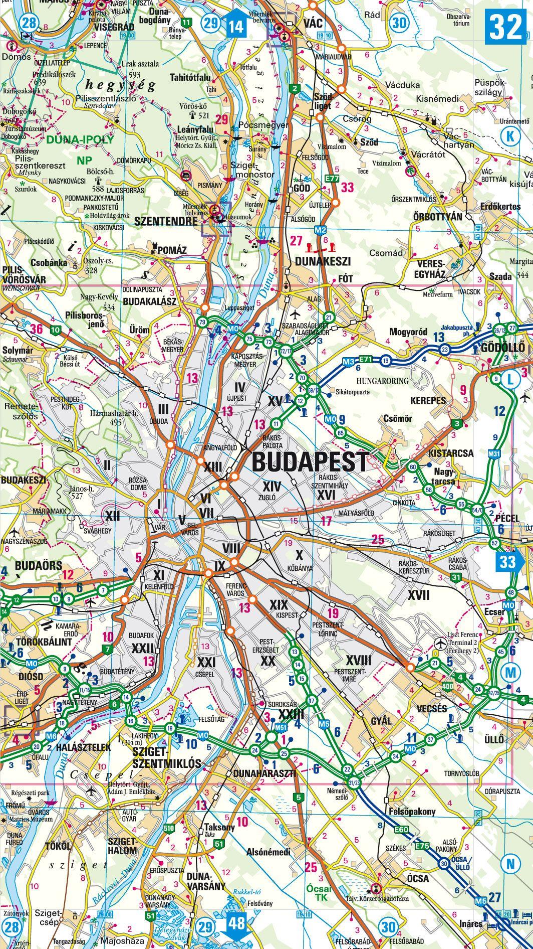 Magyarország autóatlasza: Budapest áthajtási térkép