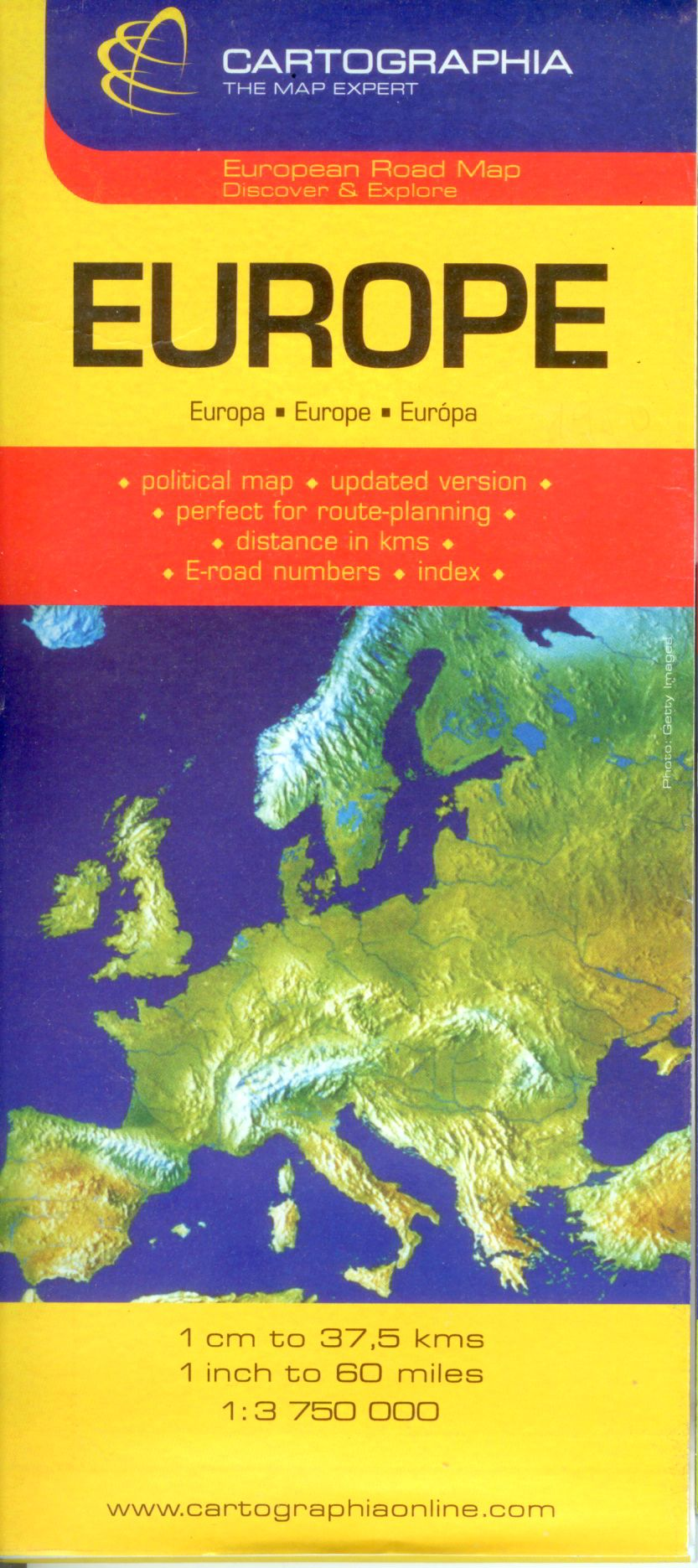 Európa ország színezésű útvonaltervező autótérképe névmutatóval