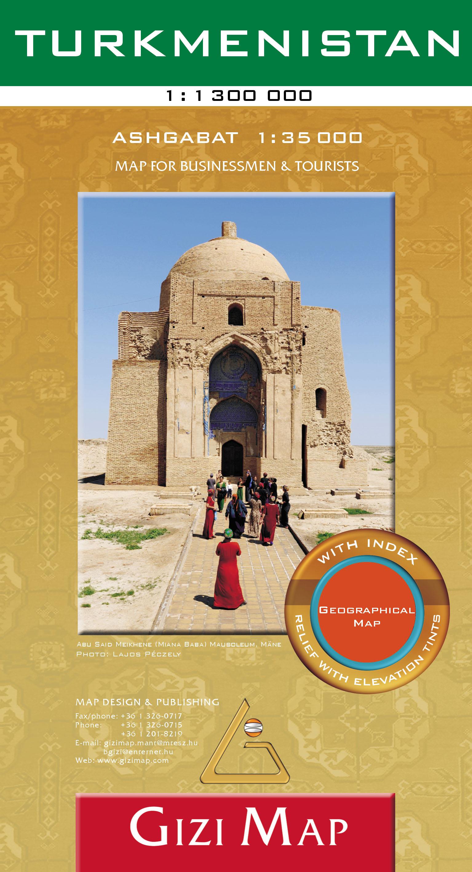 Általános földrajzi térkép autós-turista információkkal, névmutatóval, Asgabat melléktérképpel