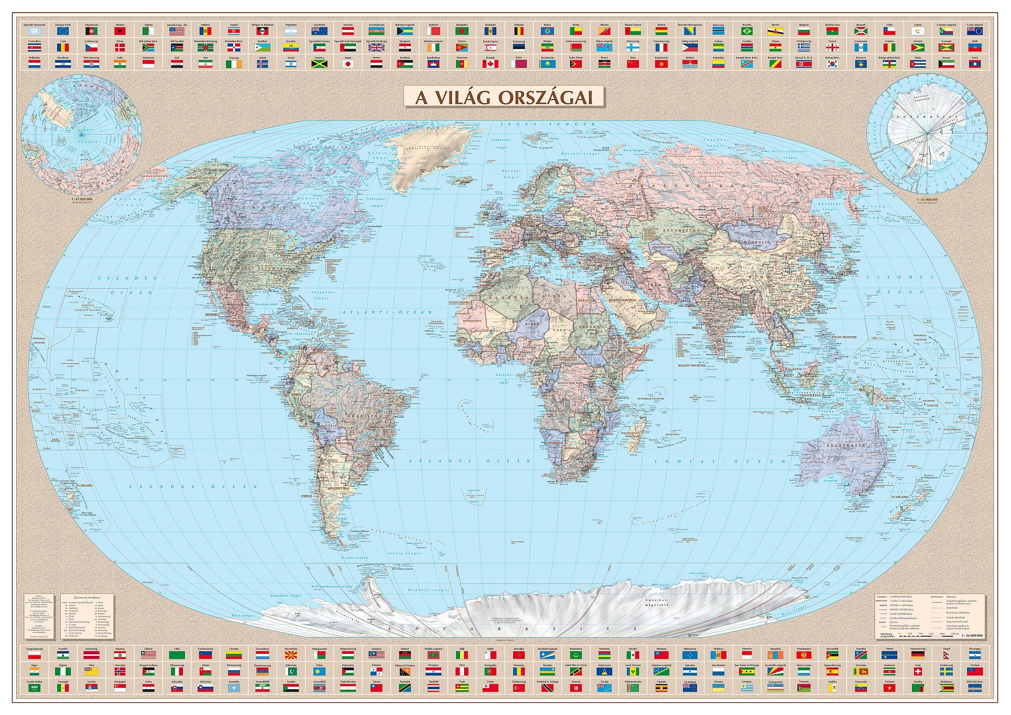 A Föld országai (magyar nyelvű politikai világtérkép) írható-letörölhető falitérkép, ízléses alumínium keretben.Mérete 126 x90 cm