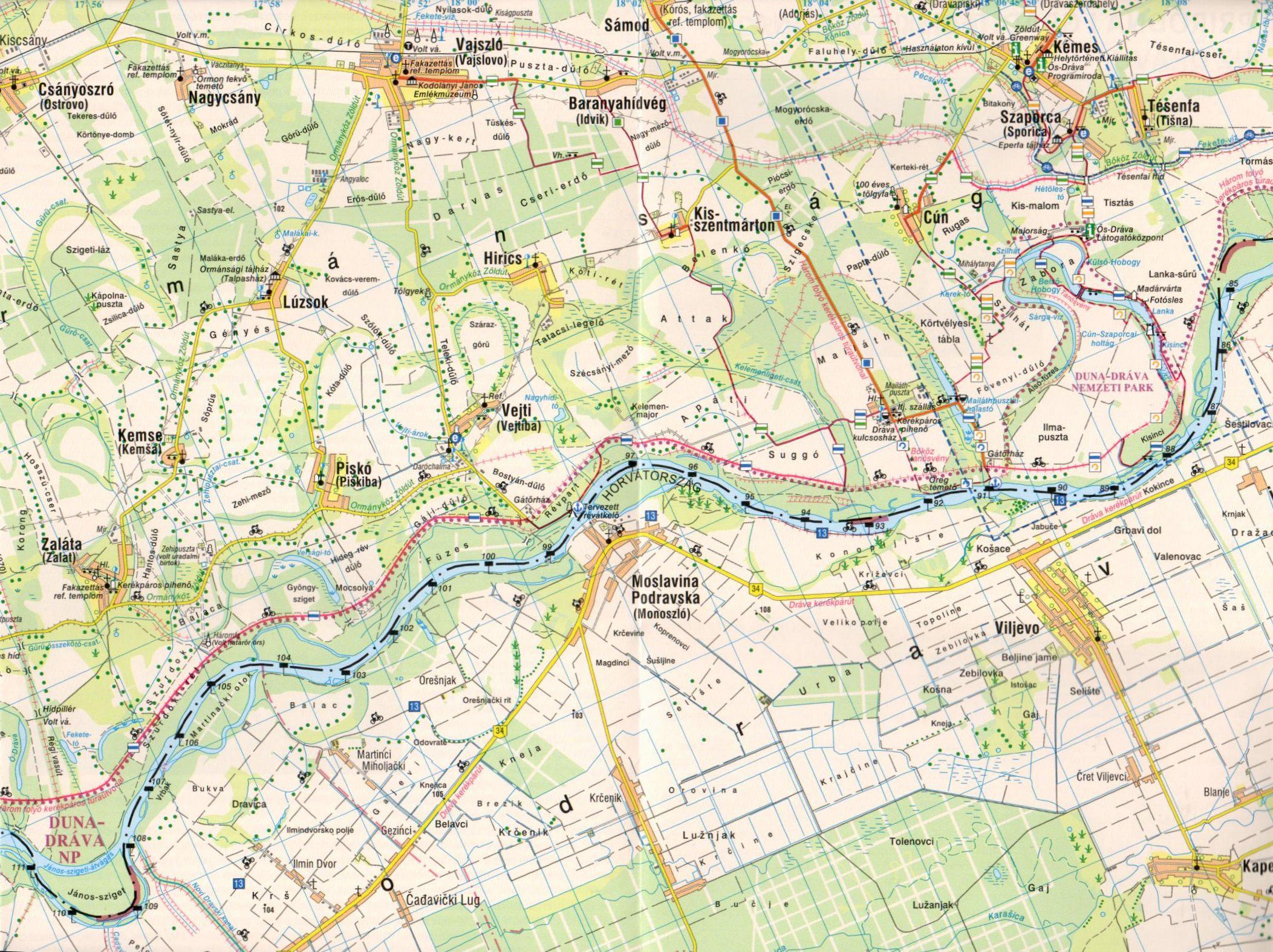 Dráva térkép mintakivágat