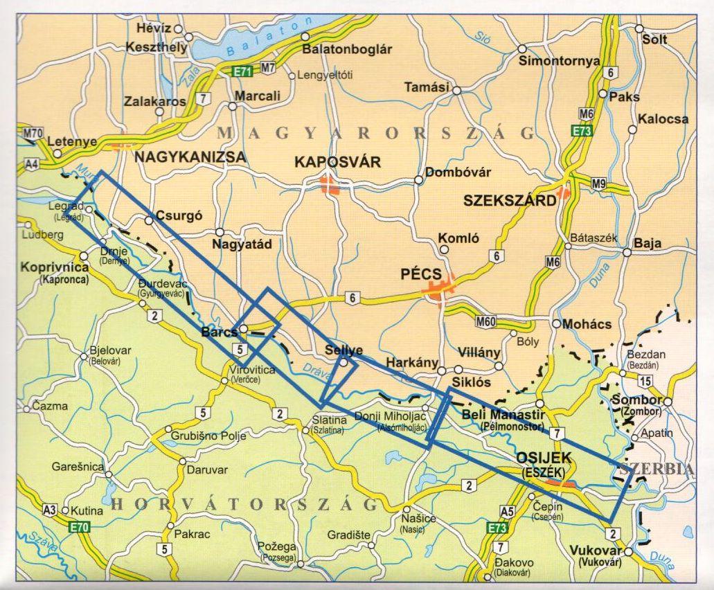 A Dráva térkép által lefedett terület