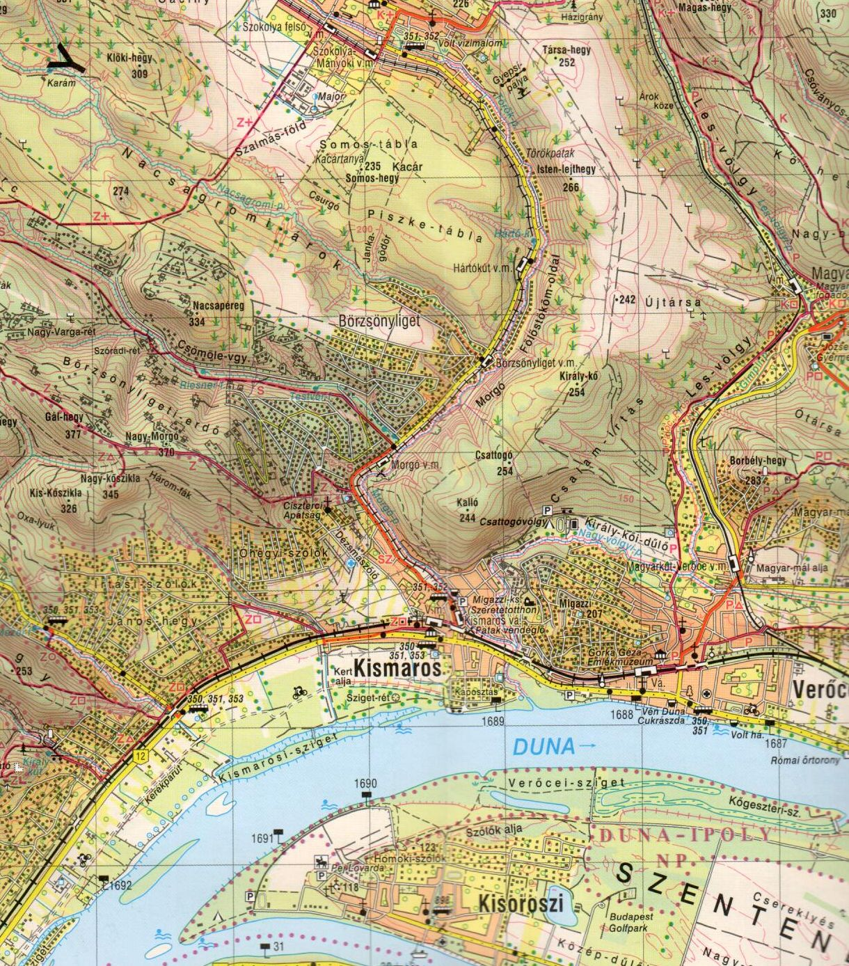 Dunakanyar térképkivágat