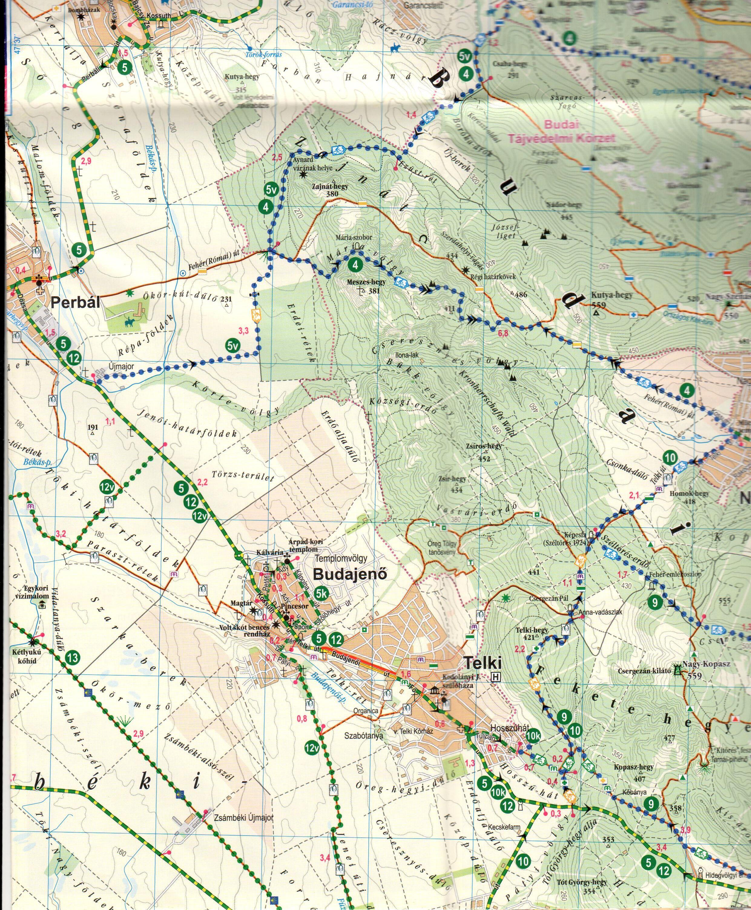 A Budai-hg biciklis térkép mintakivágata