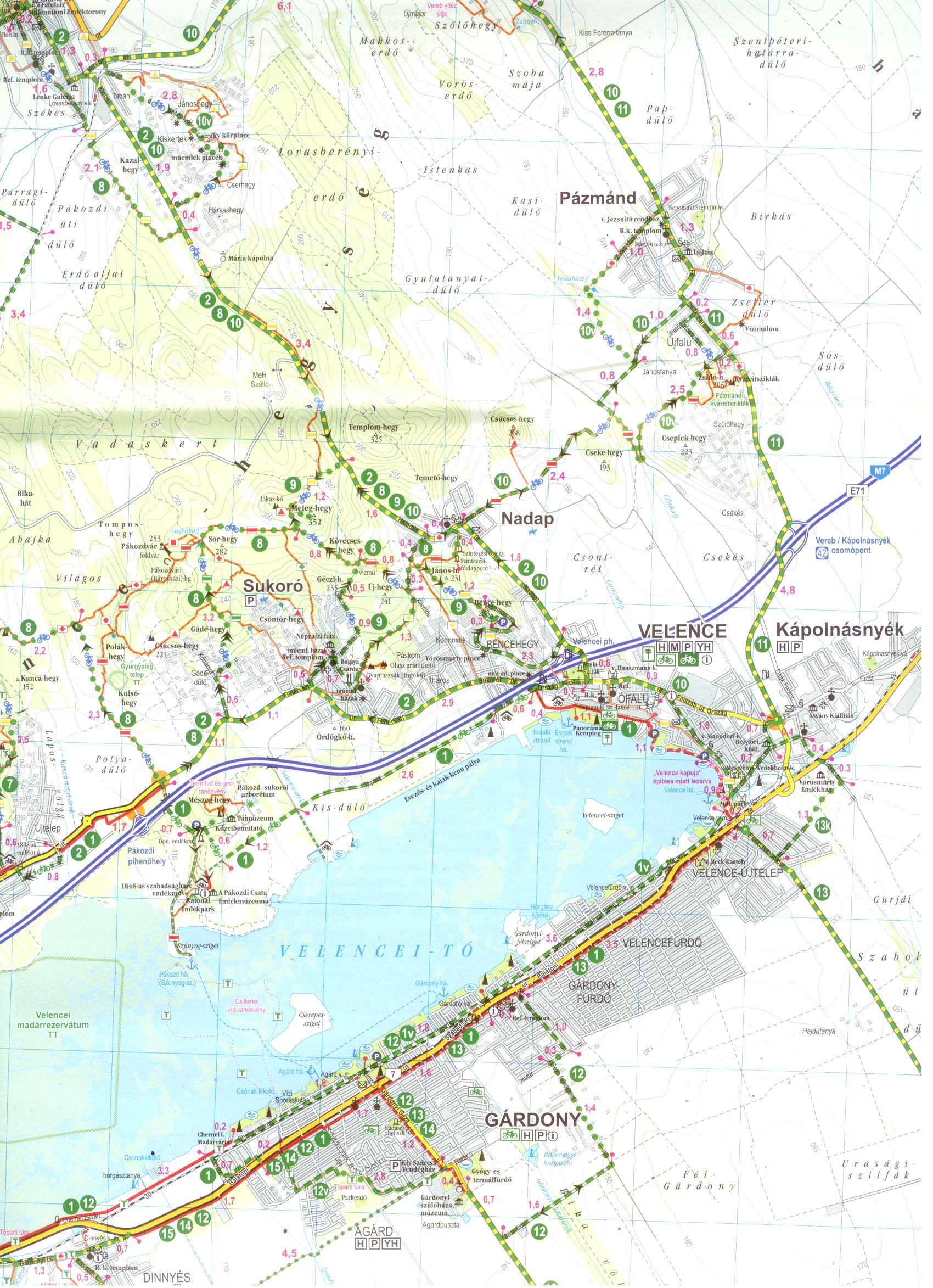 Velencei-tó biciklis térkép minta