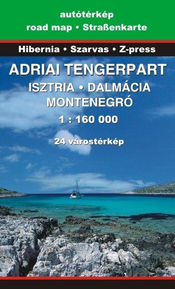 Adriai tengerpart (Isztria, Dalmácia, Montenegró) autós és turista információs térkép 24 várostérképpel, névmutatóval (2017-es kiadás)