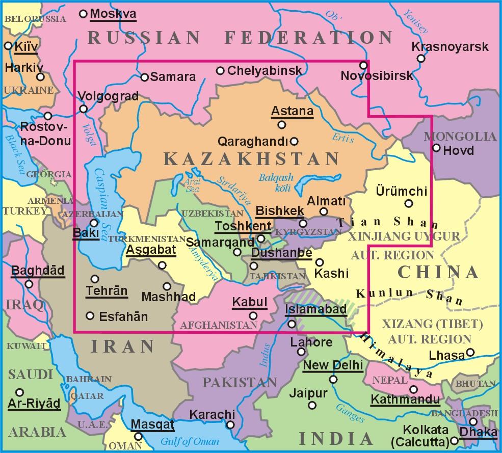 Kazahsztán elhelyezkedése a világtérképen