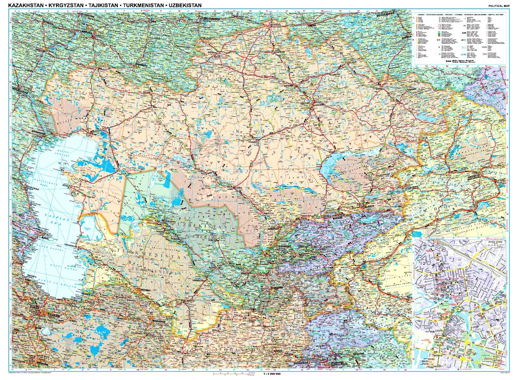 Kazahsztán poitikai térképe által lefedett terület