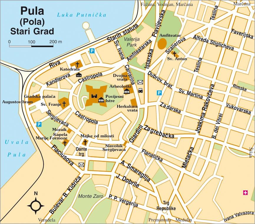 Horvát tengerpart: Pula várostérkép