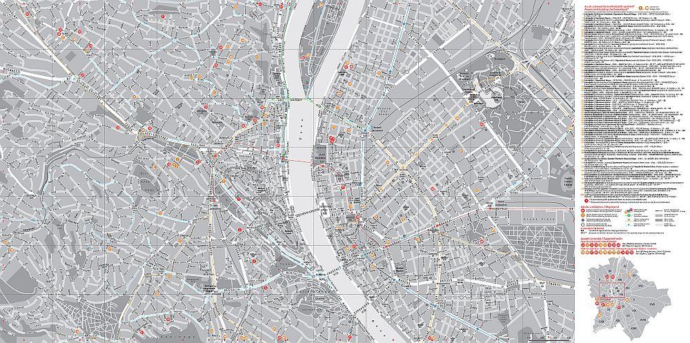 Buapest modern építészete: a térkép által lefedett terület