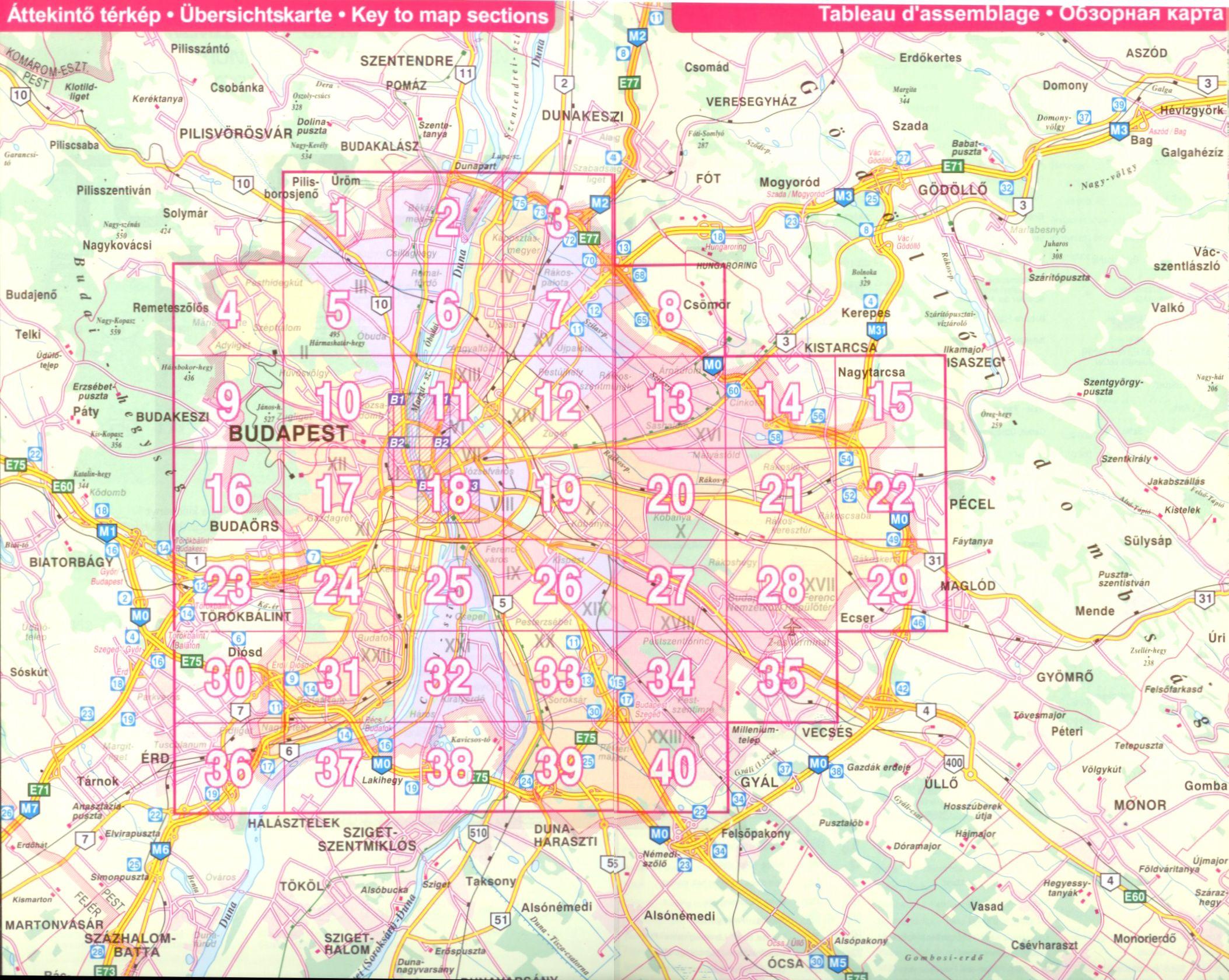 Budapest lapok áttekintő térképe