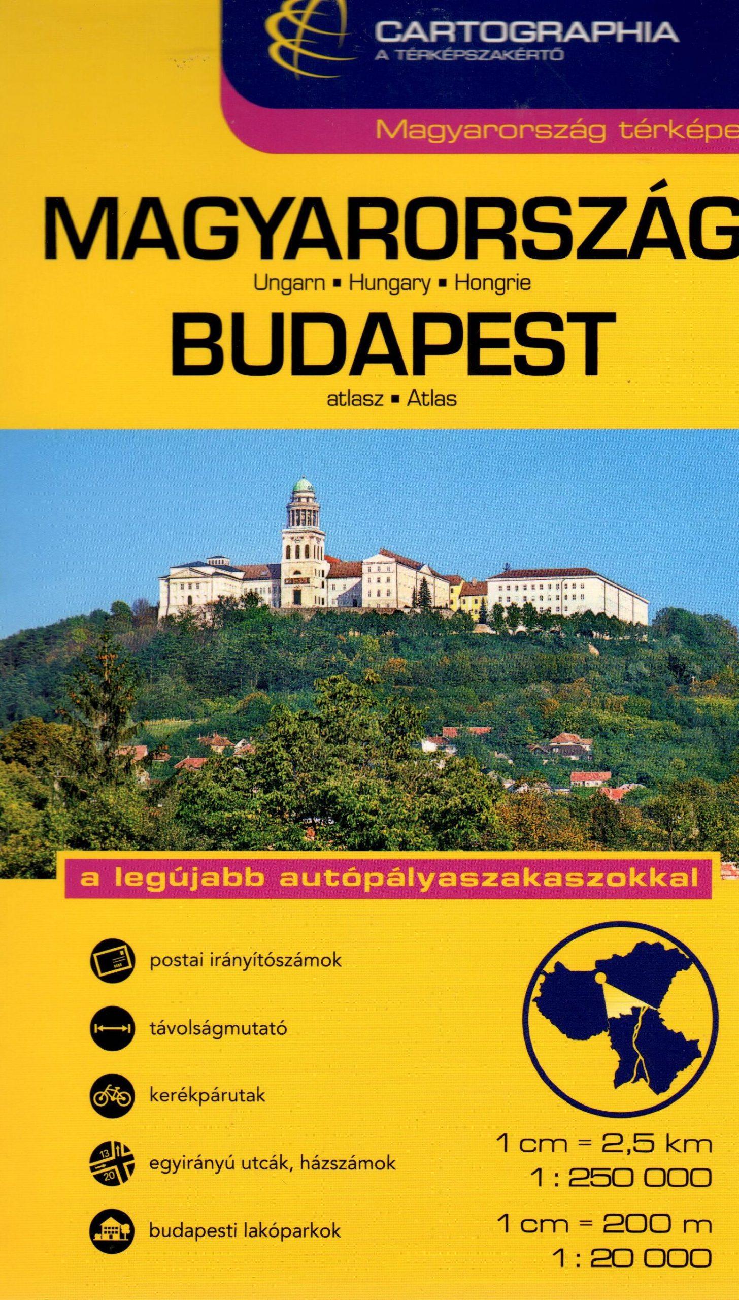 Két kiadvány egy kötetben: Magyarország autóatlasz 1.250.000 névmutatóval+ Budapest városatlasz 1:20.000 utcajegyzékkel.