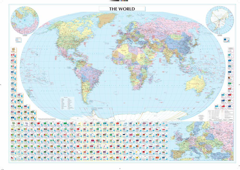Angol nyelvű politikai világtérkép zászlókkal mobil telefonokra, tabletekre