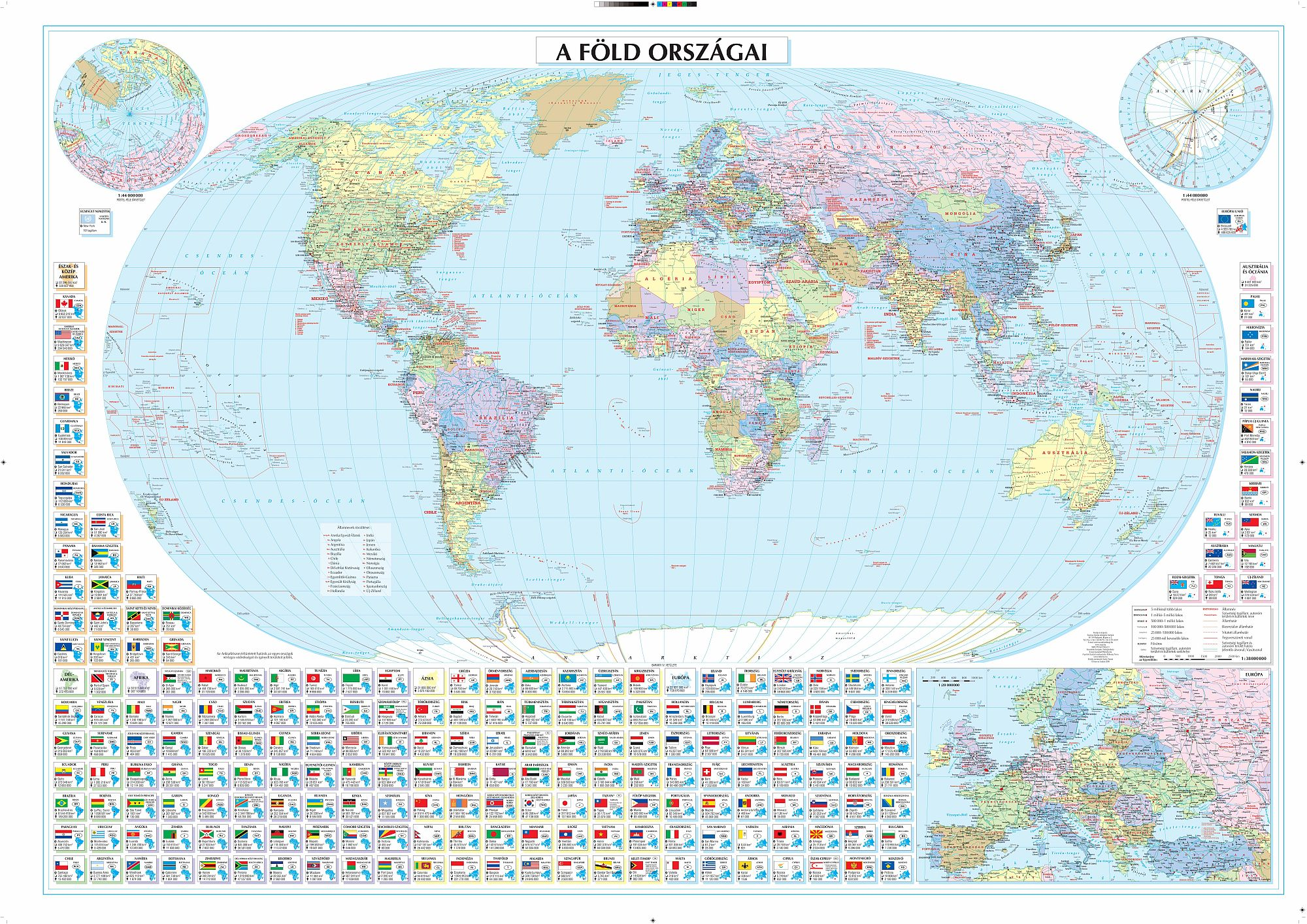 Politikai világtérkép zászlókkal statisztikai adatokkal mobil eszközökre