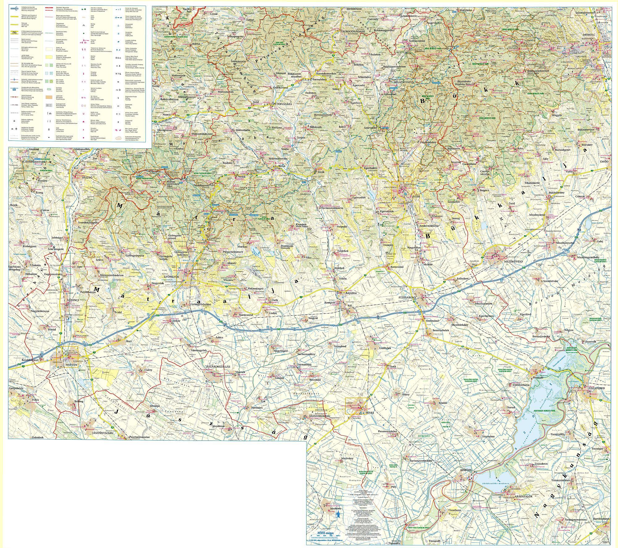 Részletes GPS-kompatibilis turista-biciklis térkép mobil eszközökre