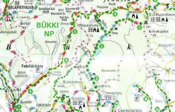 Észak-magyarországi kerékpártúrák térképminta