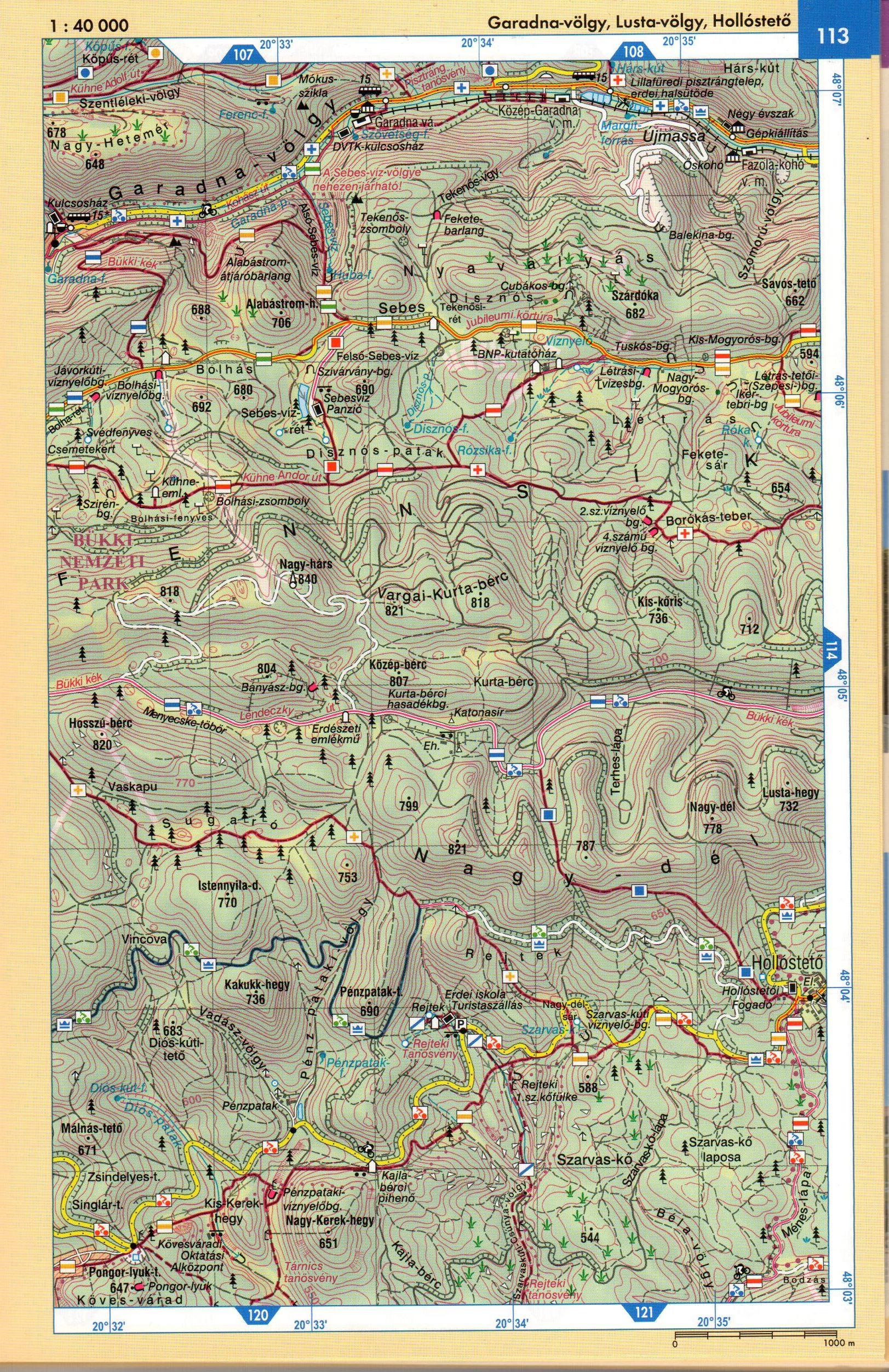 Bükk atlasz térképes mintaoldal