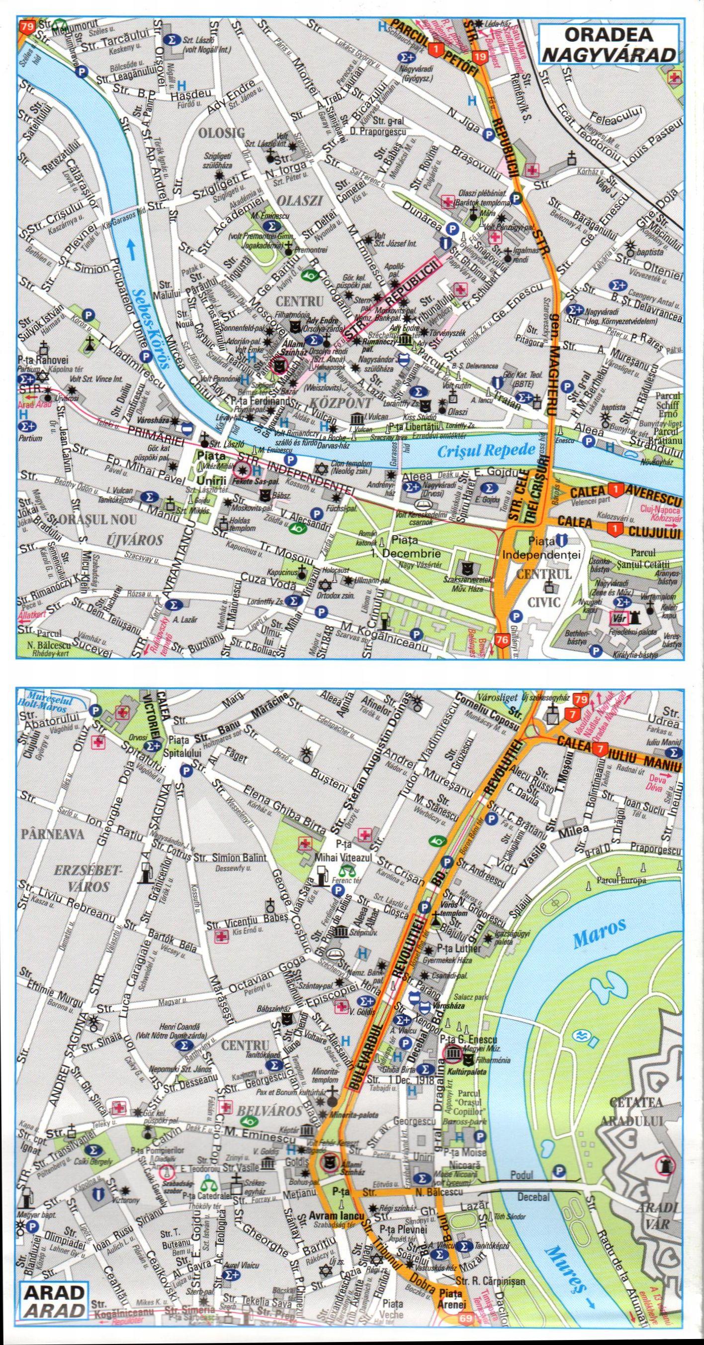 Erdély: várostérképek mintája