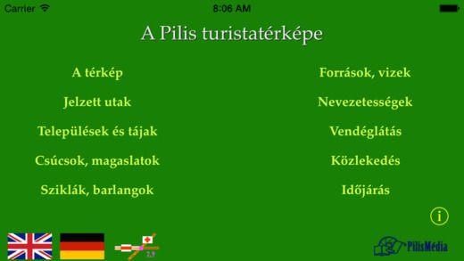 Részletes digitális Pilis, Visegrádi-hegység, Szentendrei-sziget biciklis és turistatérkép iPhone-ra, iPadre