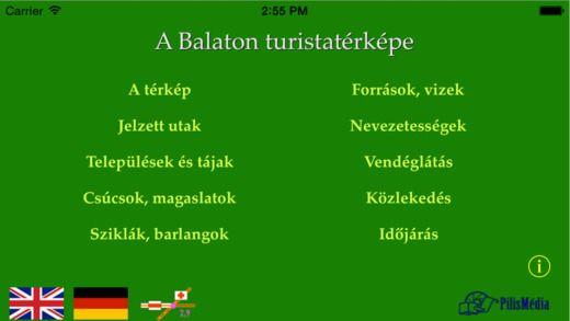Balaton és környéke, ill. Balaton-felvidék biciklis és turistatérkép iPhone-ra, iPadre