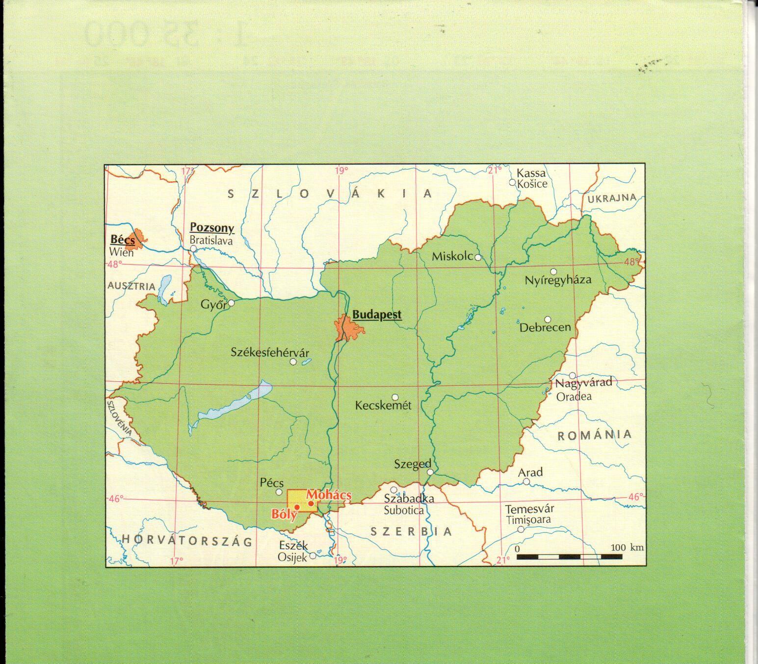 A Mohács-Bóly borút térkép által lefedett terület