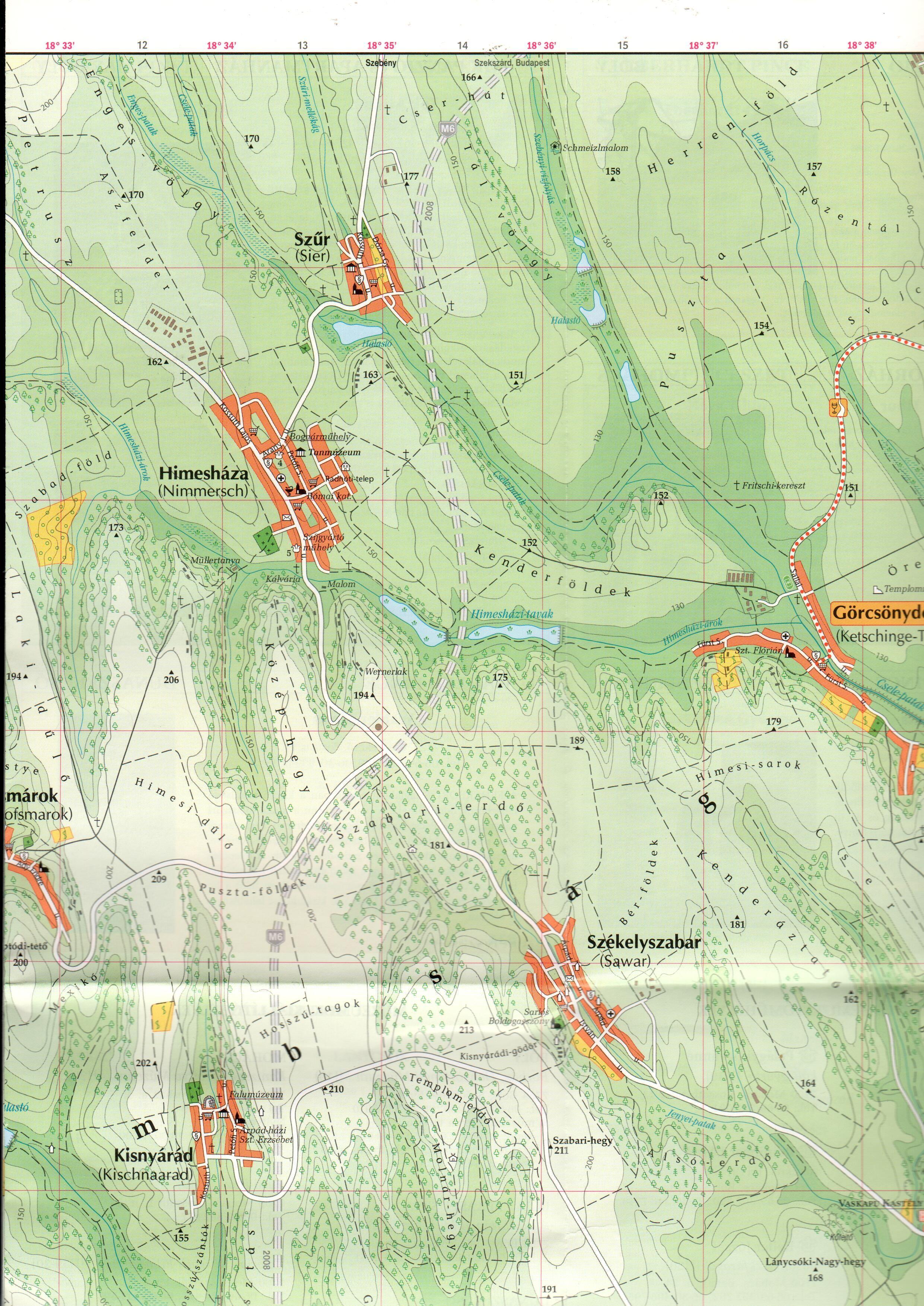 Mohács-Bóly borút térképminta