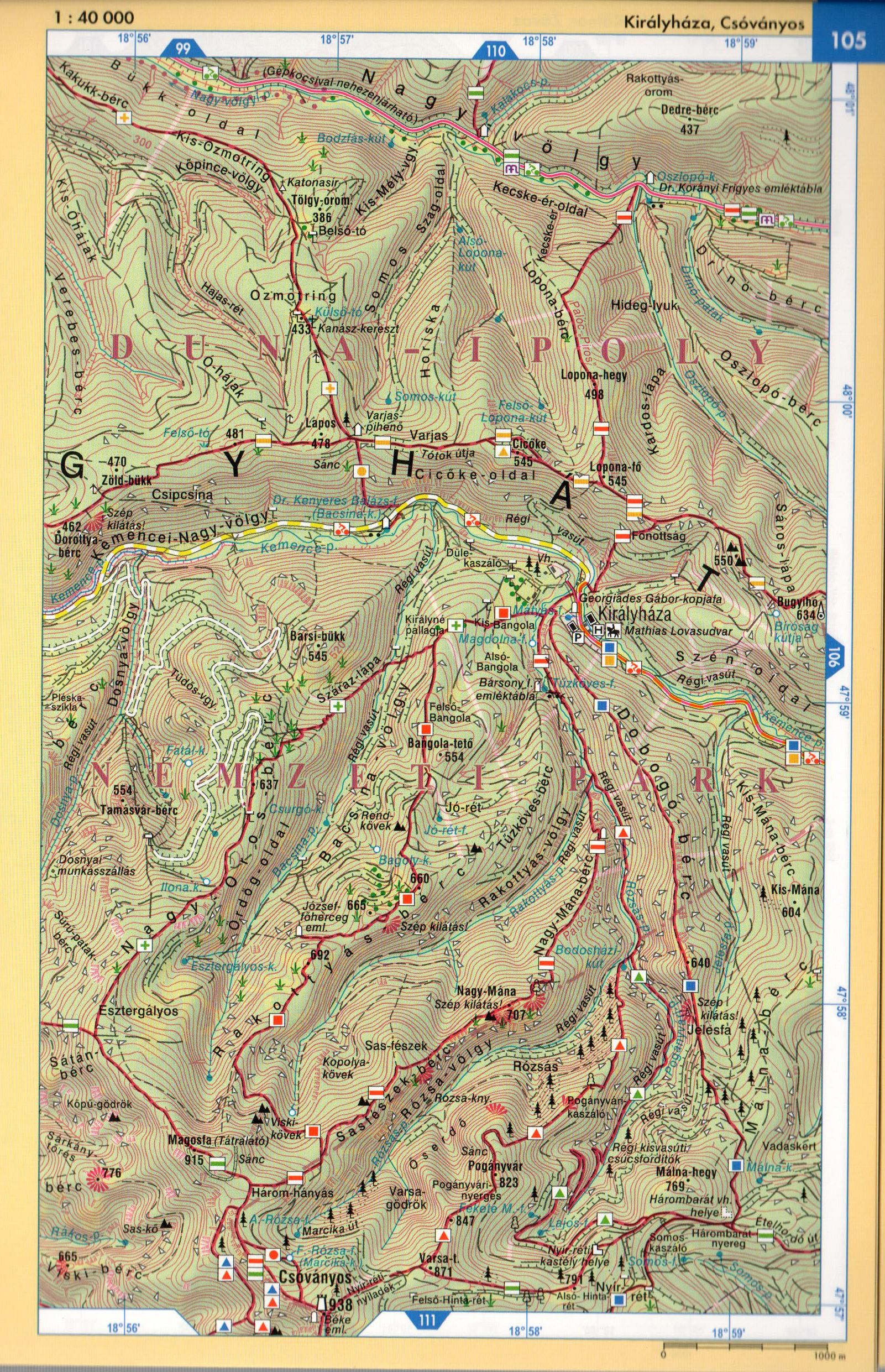 Börzsöny atlasz térképminta 1:40.000