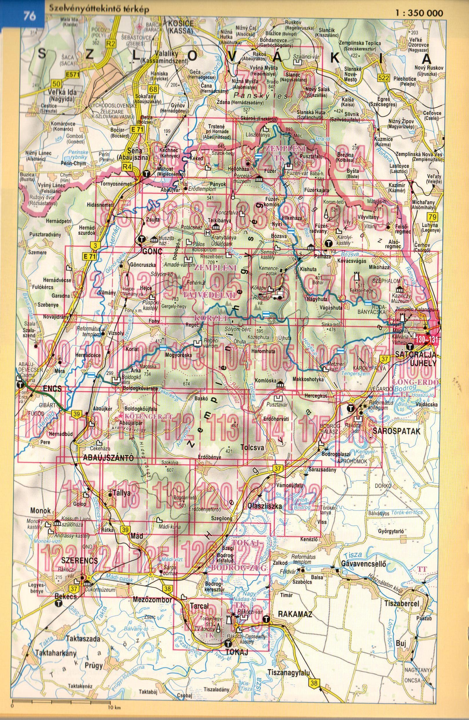 Zemplén atlasz áttekintő térkép