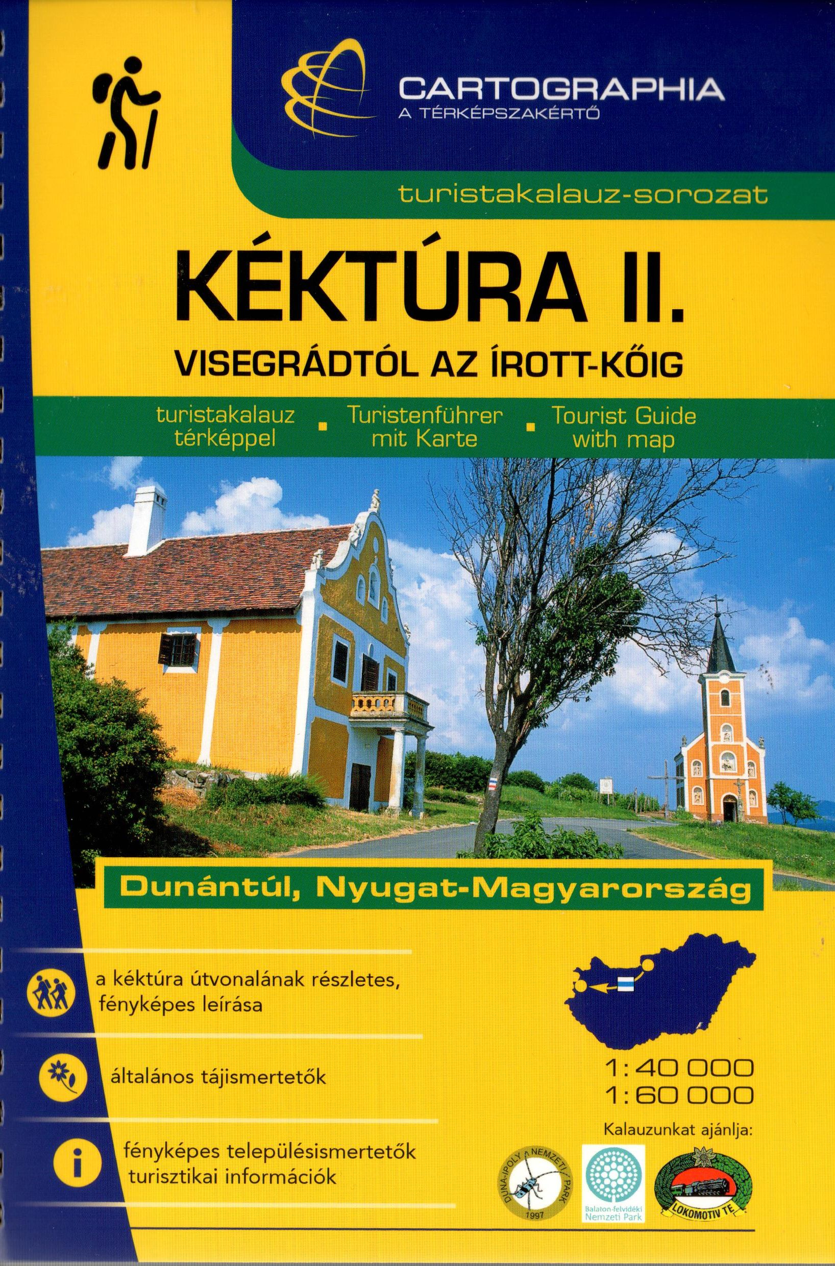 Turistakalúz térképpel, fényképekkel az OKT dunántúli részéről