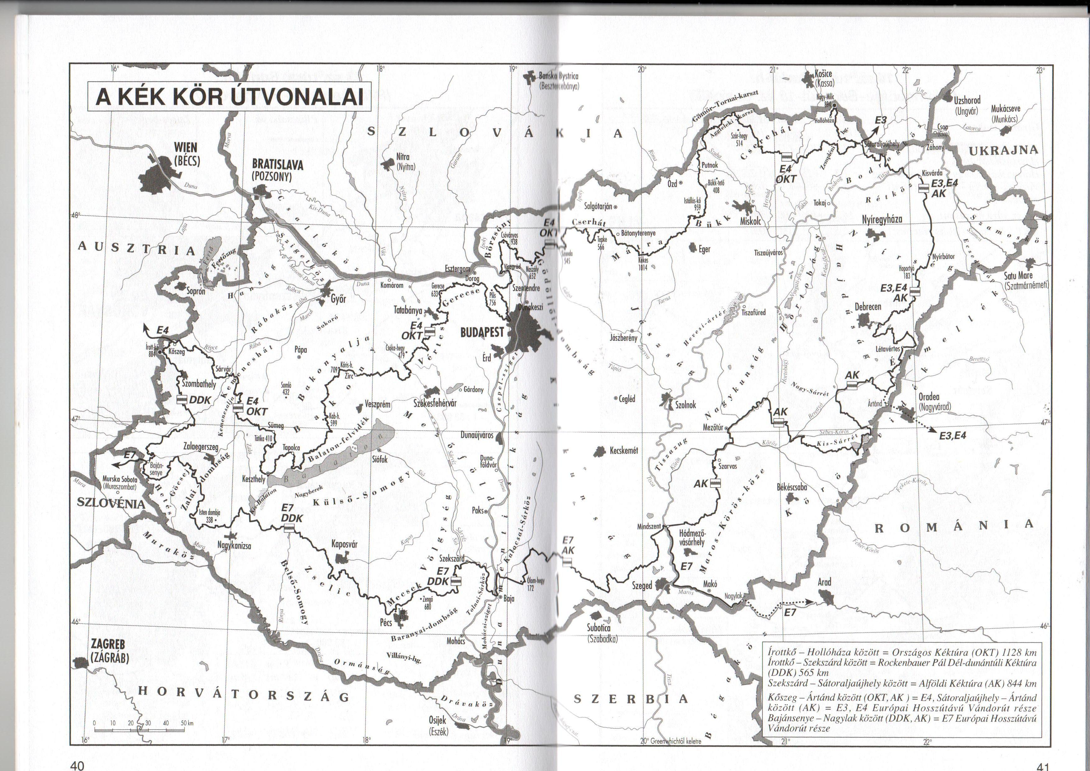Kéktúra igazolófüzet áttekintő térkép