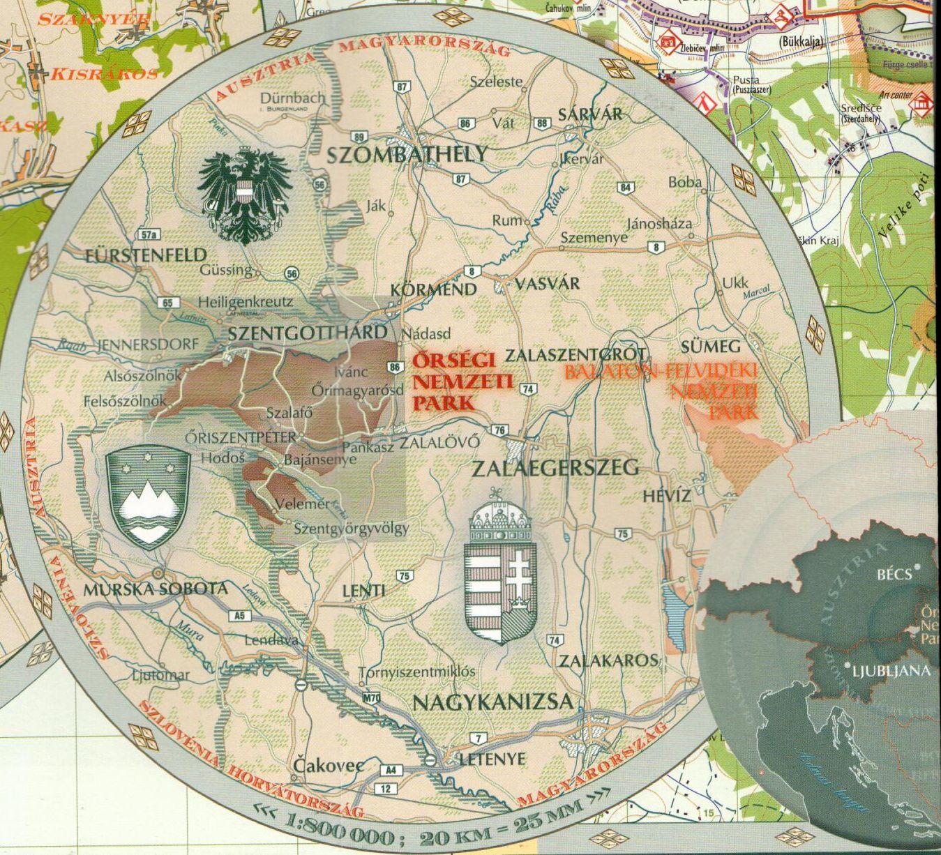 Az Őrség NP térkép által lefedett terület