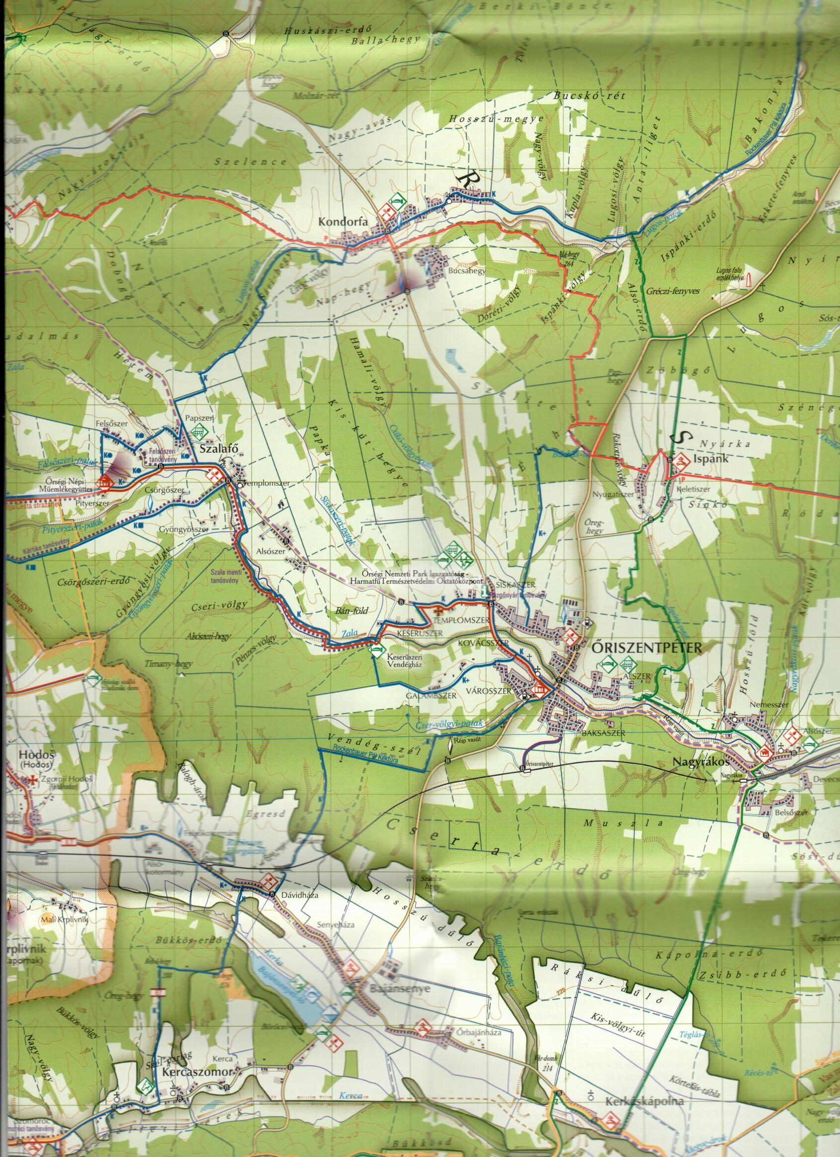 Az Őrség NP térkép mintakivágata
