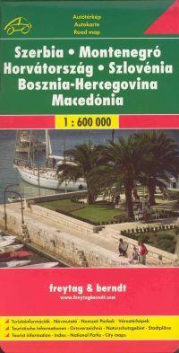 A volt jugoszláv tagköztársaságok autós-turista térképe vársotérképekkel és névmutatóval