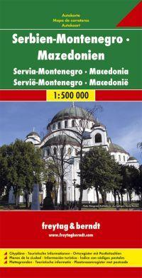 Autótérkép domborzatárnyékolással, Belgrád (1.15.000) és a montenegrói tengerpart melléktérképével (1:175.000)