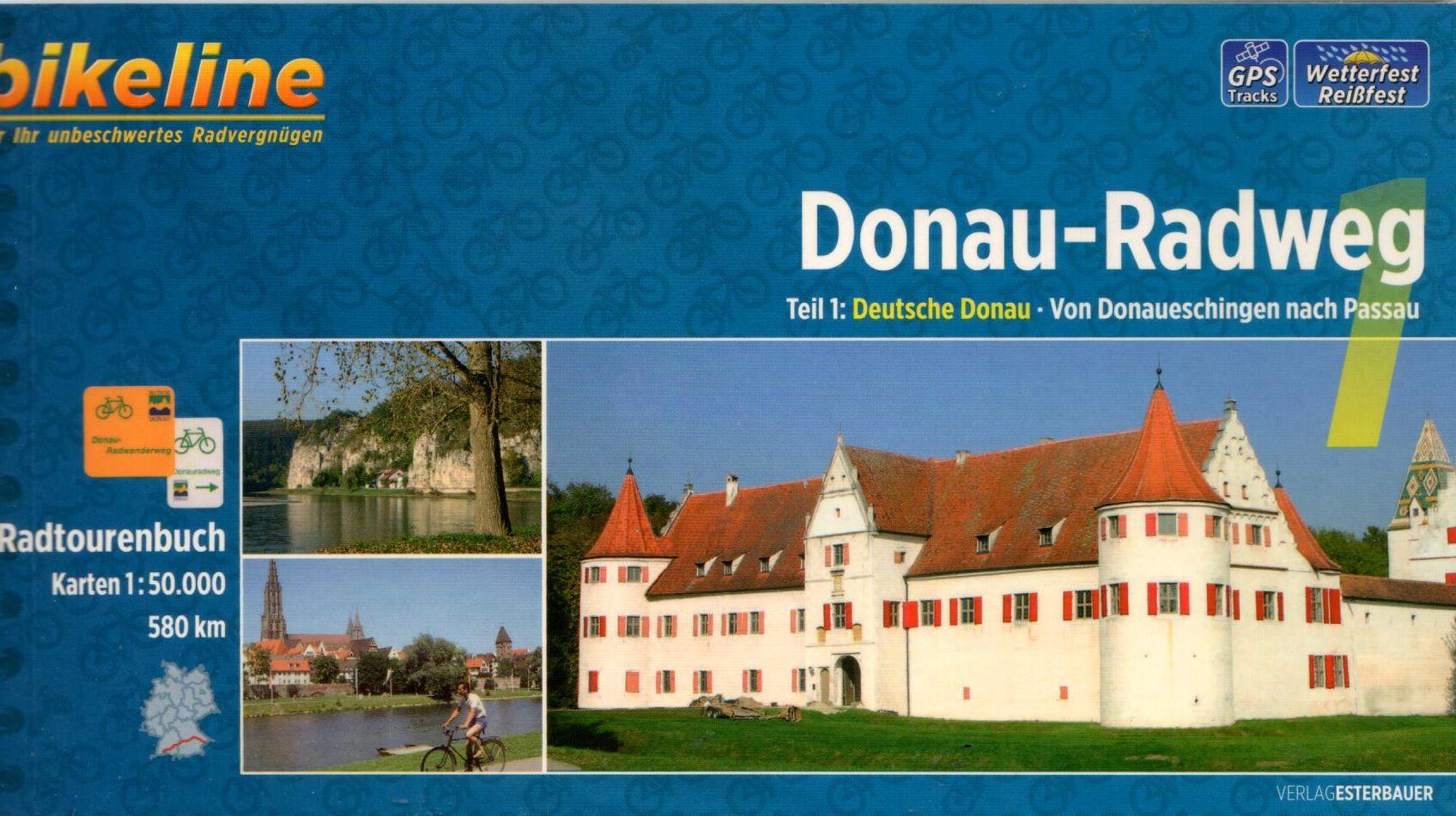 Spirál kötésű, 12 x 23 cm-es német nyelvű térképes utikönyv a Donaueschingen-Passau közötti Duna szakaszról