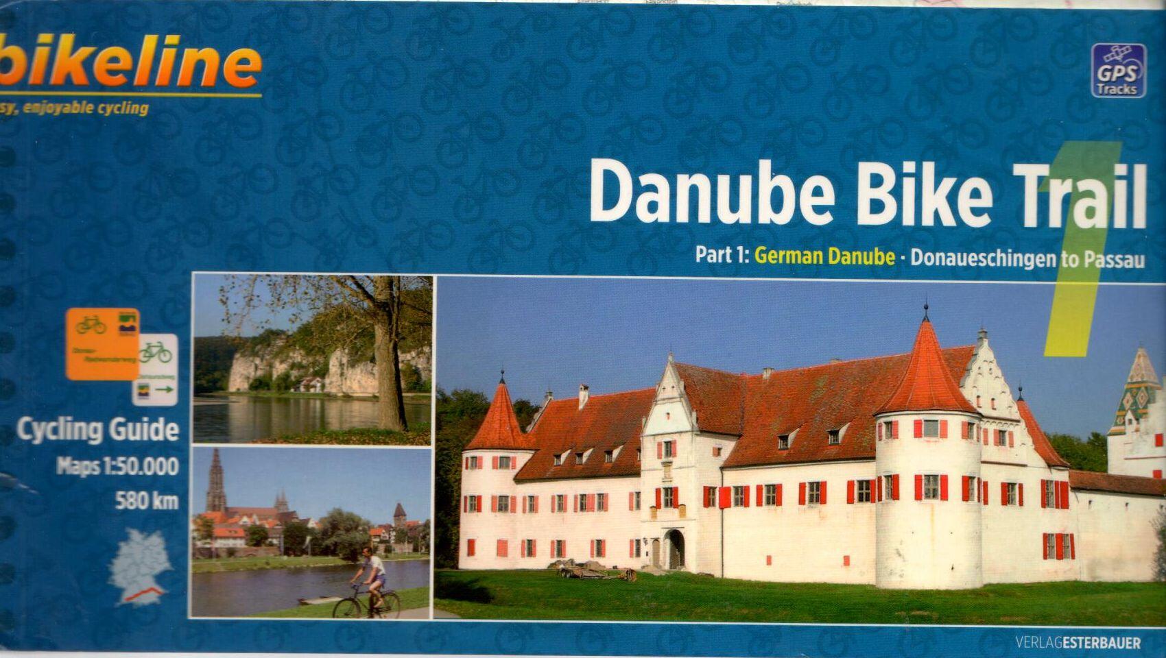 Spirál kötésű, 12 x 23 cm-es angol nyelvű térképes utikönyv a Donaueschingen-Passau közötti Duna szakaszról