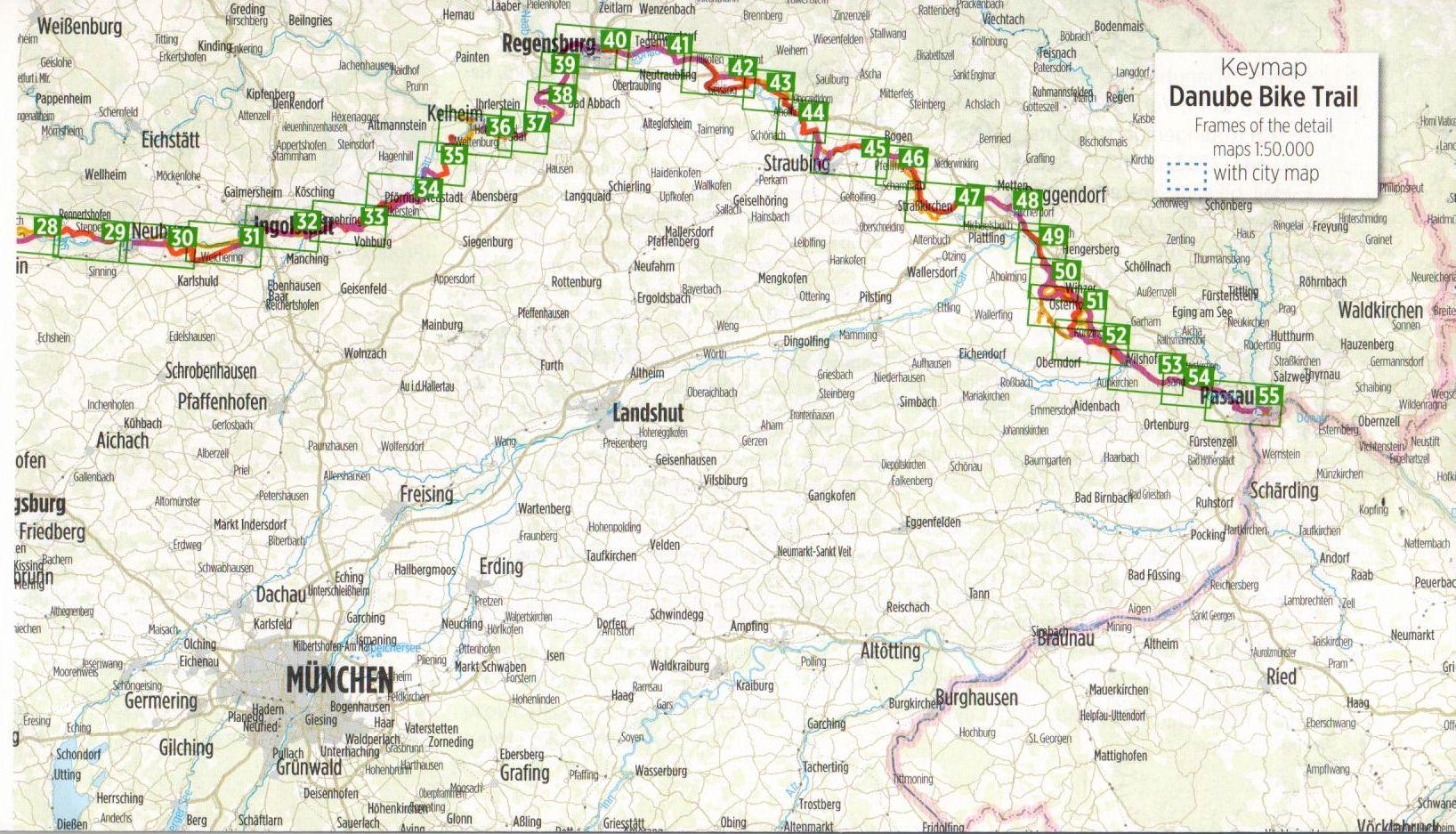 Duna-menti kerékpárút 1.: Áttekintő térkép