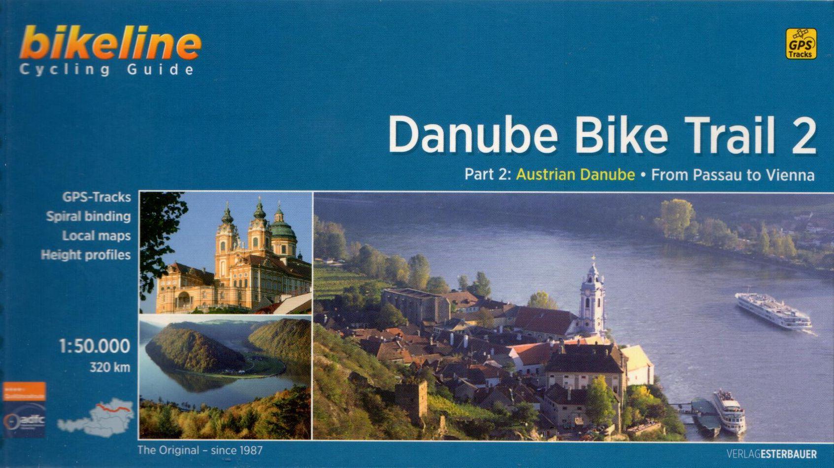 Spirál kötésű, 12 x 23 cm-es angol nyelvű térképes utikönyv a Passau-Bécs közötti Duna szakaszról
