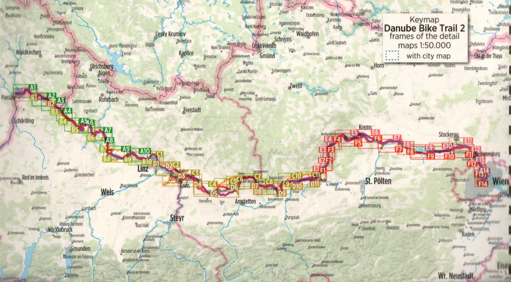 Duna-menti kerékpárút 2.: Áttekintő térkép