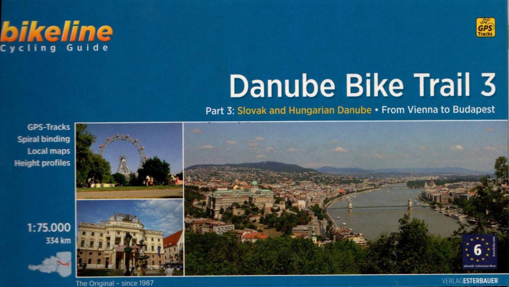 Spirál kötésű, 12 x 23 cm-es angol nyelvű térképes utikönyv a Bécs-Budapest közötti Duna szakaszról