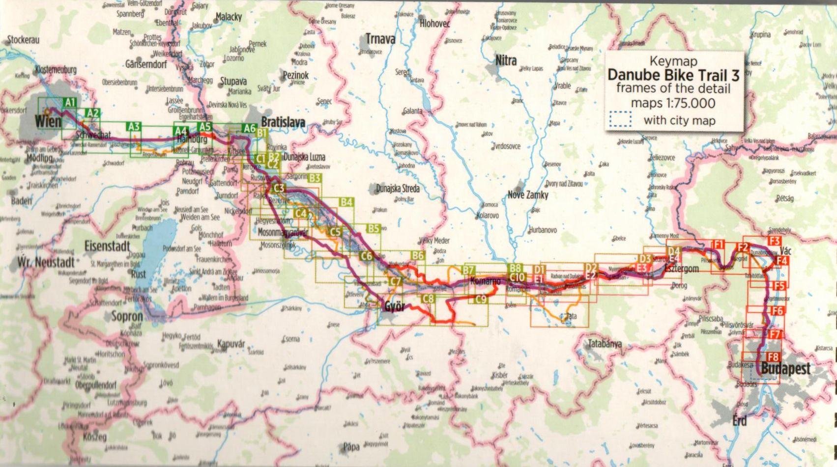 Duna-menti kerékpárút 3.: Áttekintő térkép