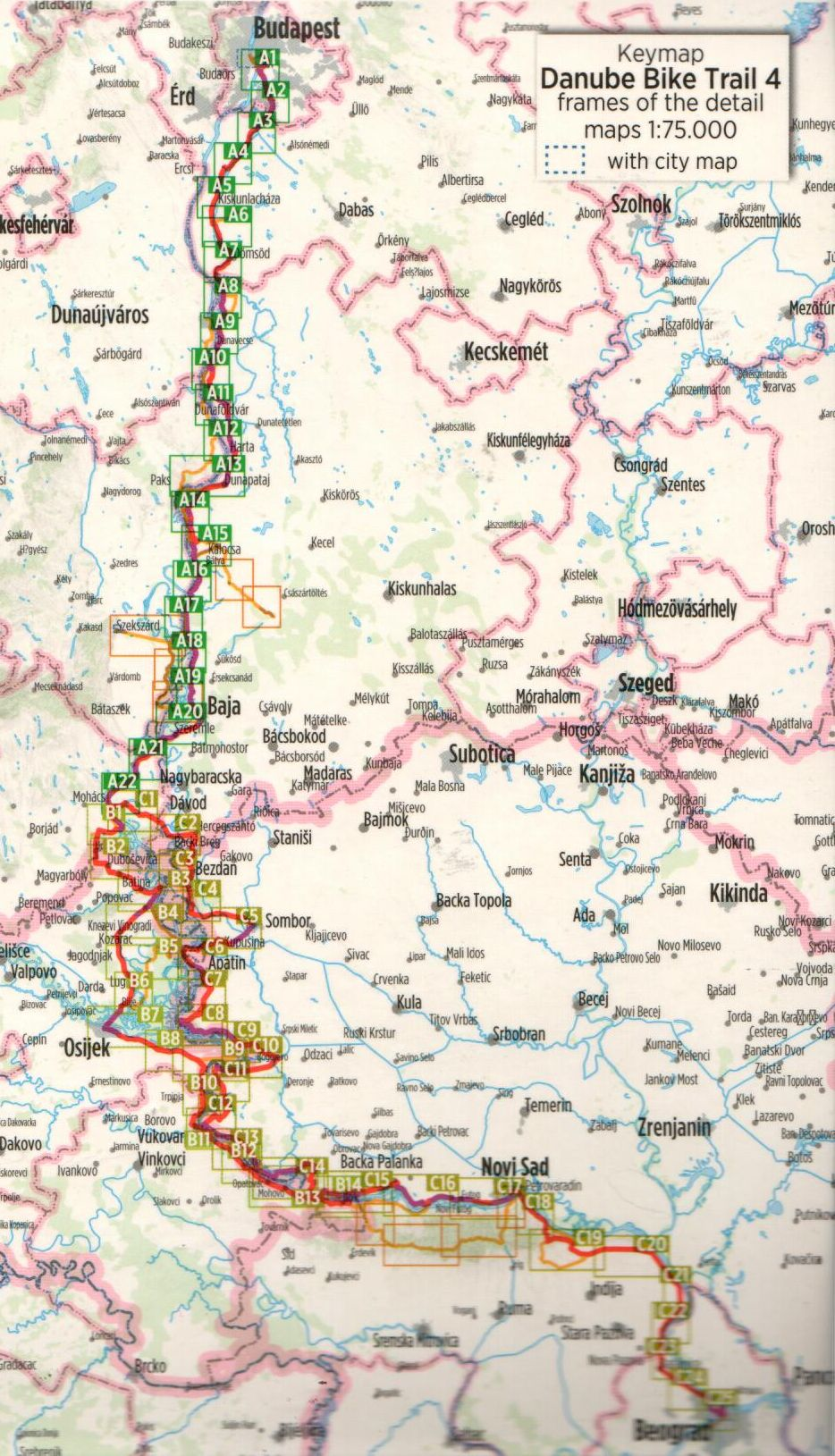 Duna-menti kerékpárút 4.: Áttekintő térkép