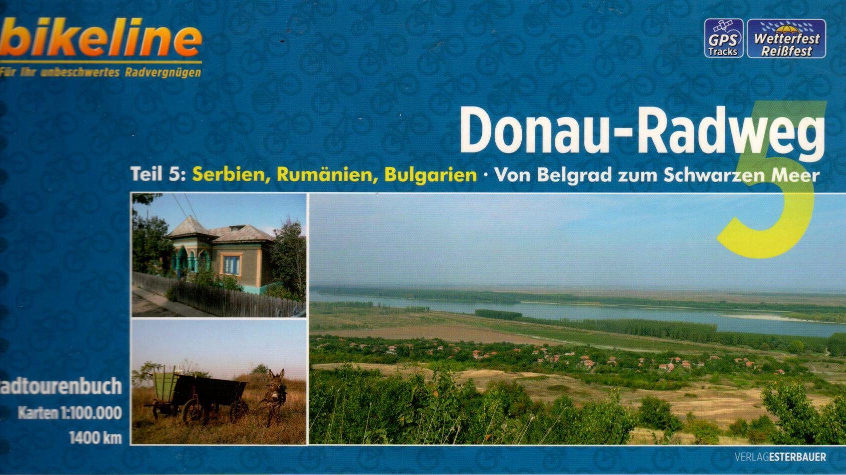 Spirál kötésű, 12 x 23 cm-es német nyelvű térképes utikönyv a Belgrád és a torkolat közötti Duna szakaszról