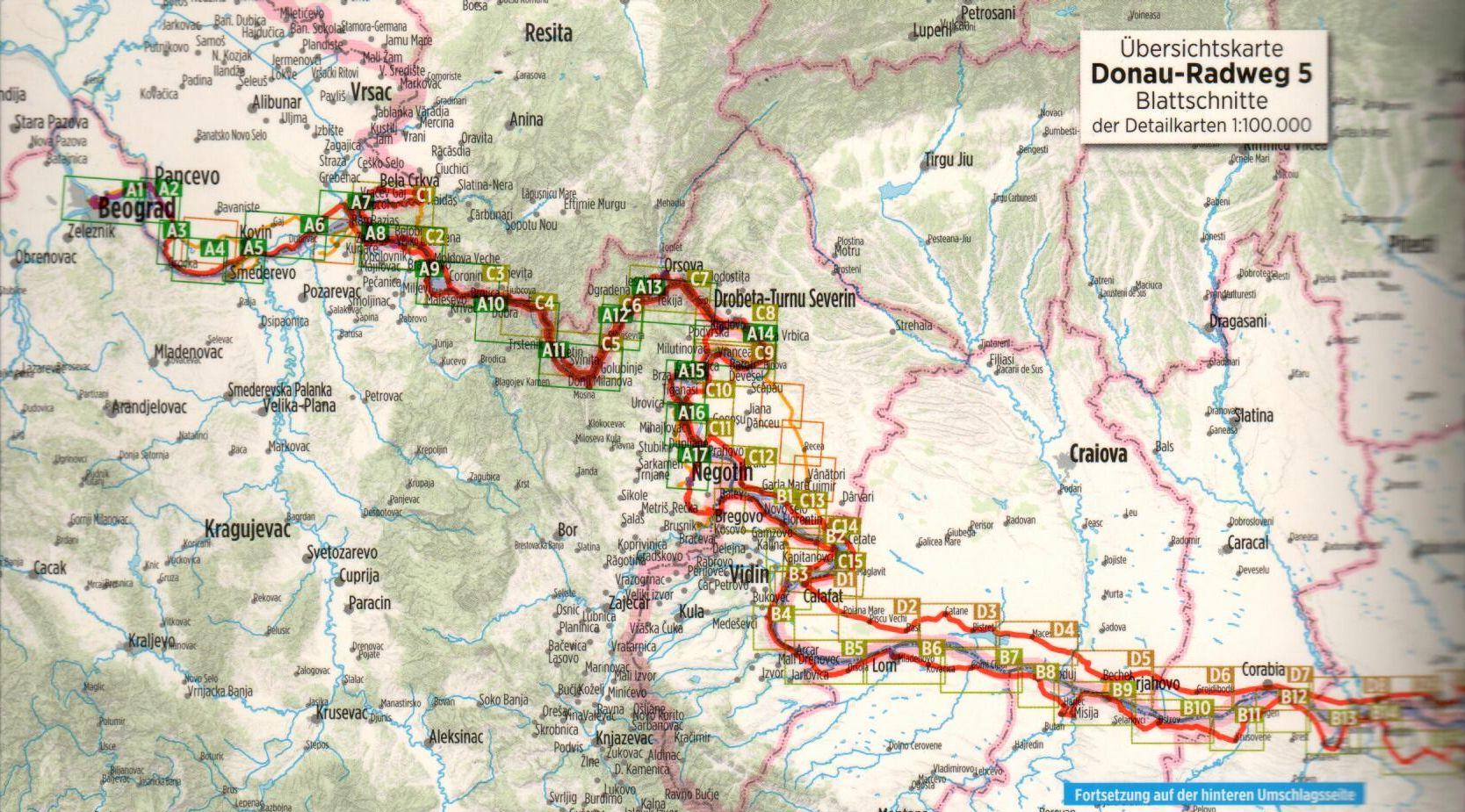 Duna-menti kerékpárút 5.: Áttekintő térkép
