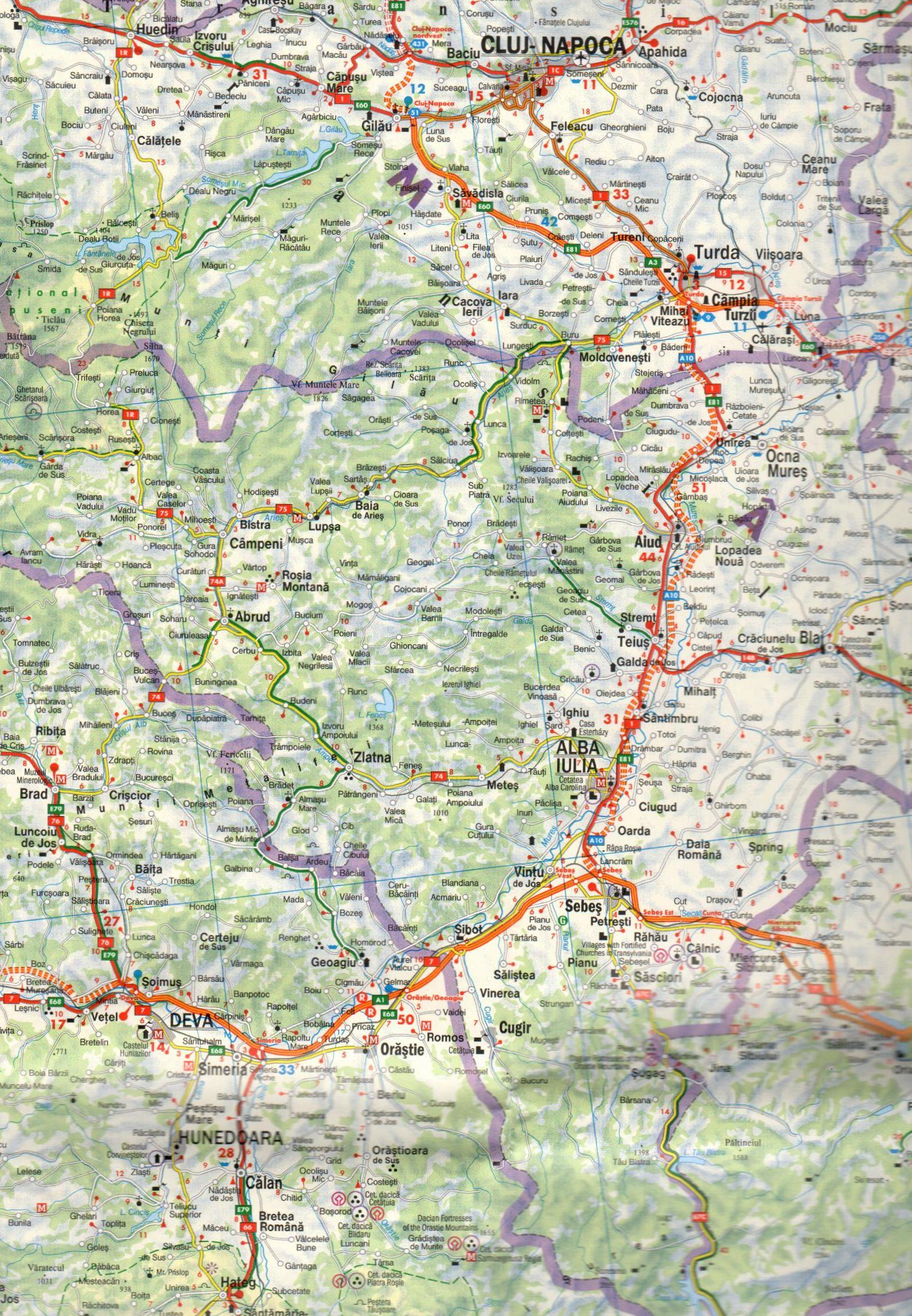 Románia autótérképe 1:500.000: térképkivágat