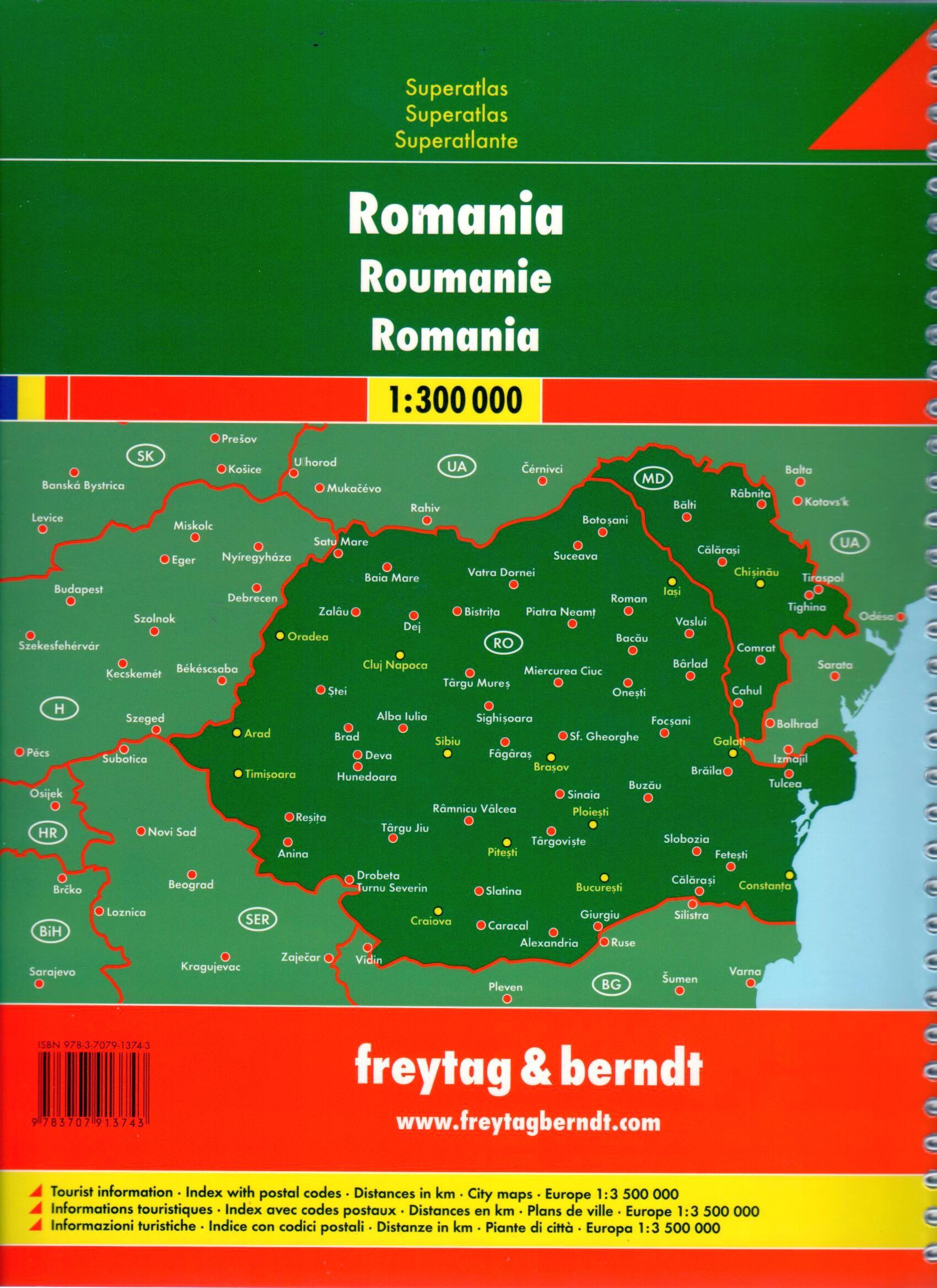 A Románia autóatlaszban szereplő várostérképek