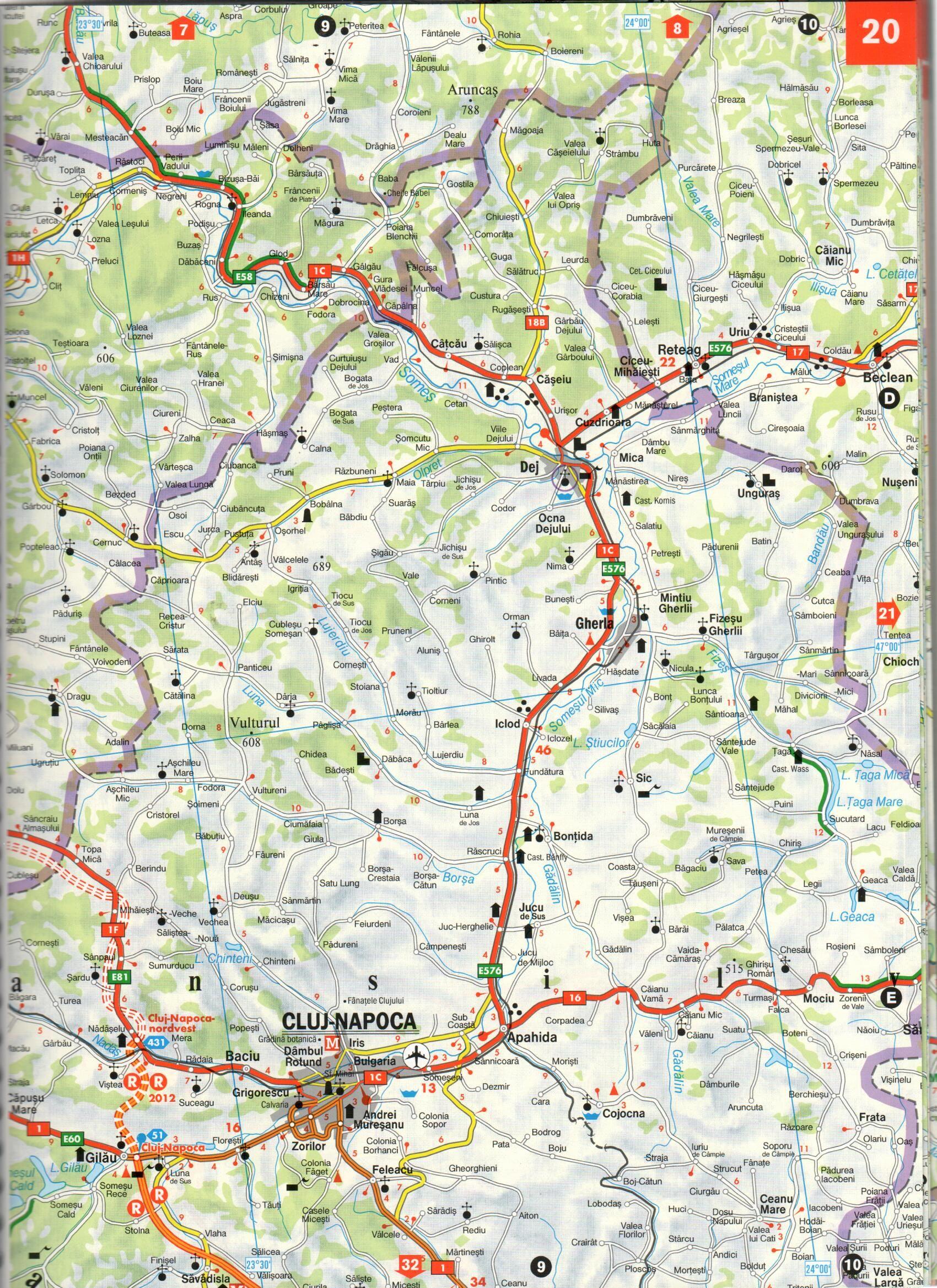 Románia autóatlasz térképminta