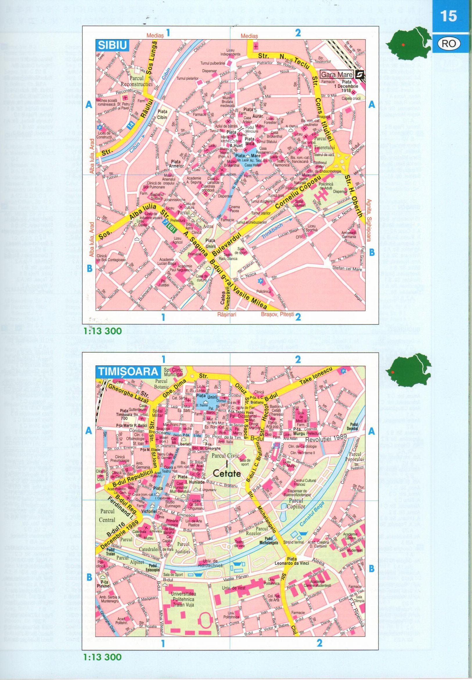 Románia autóatlasz várostérkép minta