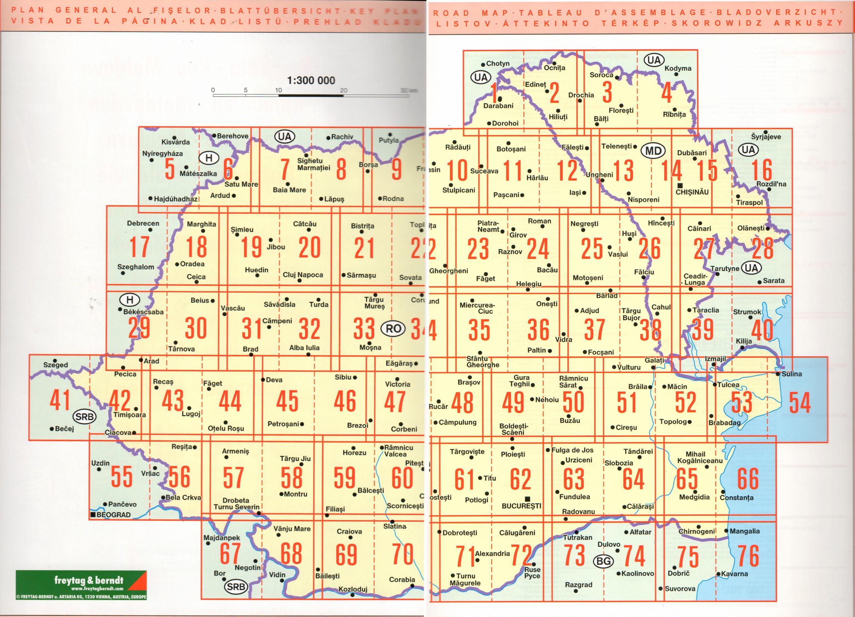 A Románia autóatlasz olalbeosztása
