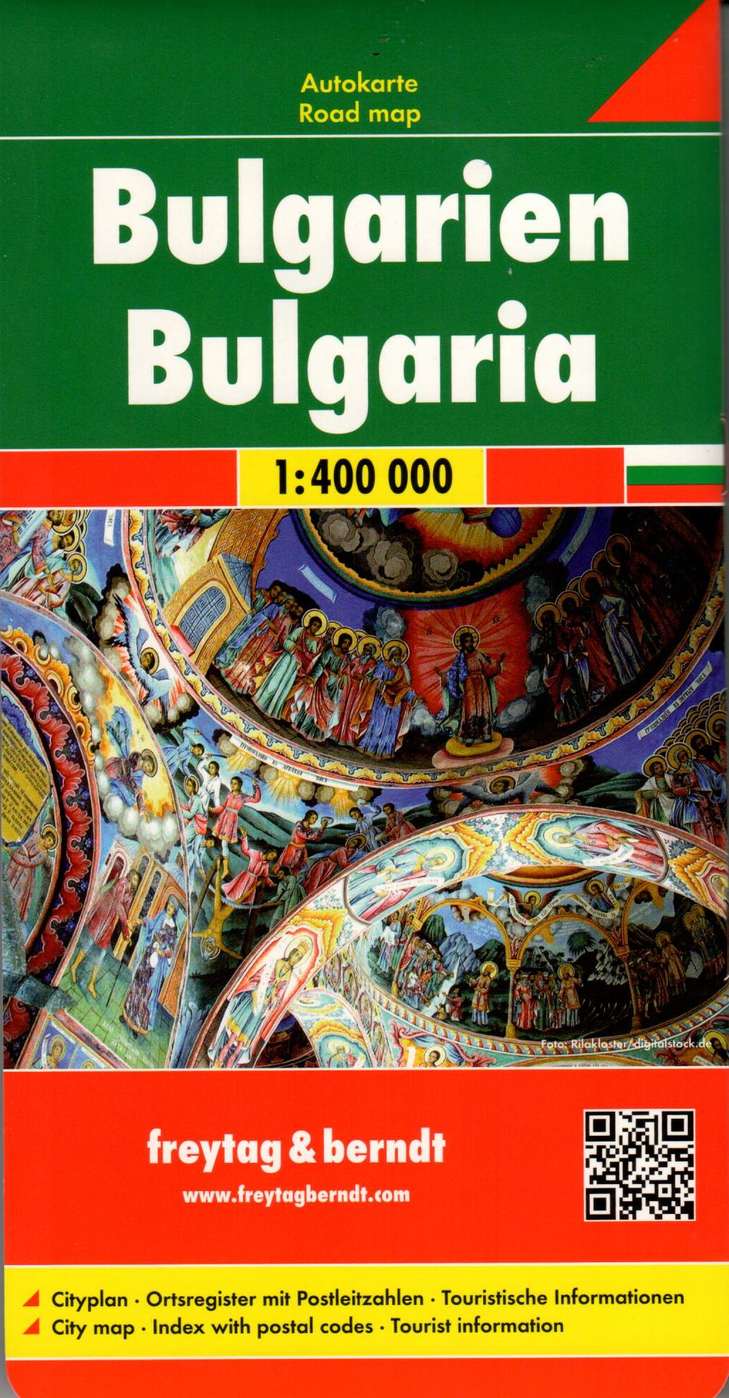 Bulgária autótérképe latin és cirill betűs névrajzzal, 10 nyelvű jelmagyarázattal